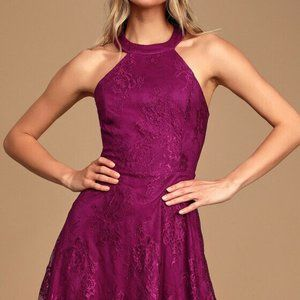 Lulus Truly Stunning Dark Magenta Lace Skater Dres